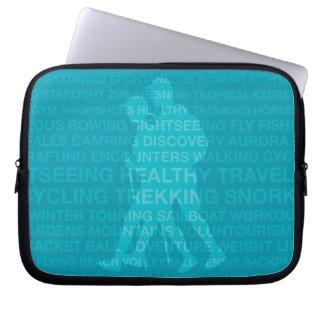 Healthy Trekking Typography Turquoise Wet Suit Computer Sleeve