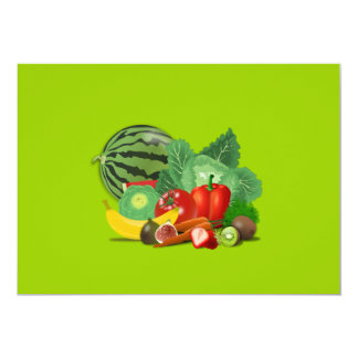 "healthy_Vector_Clipart FRUITS VEGETABLES gardening 5"" X 7"" Invitation Card"