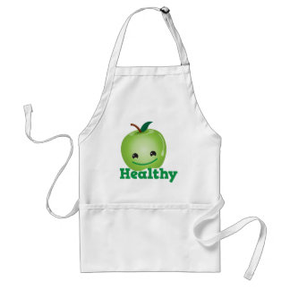 Healthy with green kawaii apple with a cute face aprons
