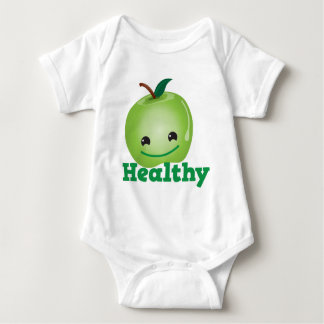 Healthy with green kawaii apple with a cute face baby bodysuit