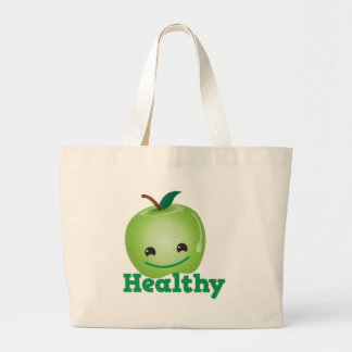 Healthy with green kawaii apple with a cute face jumbo tote bag