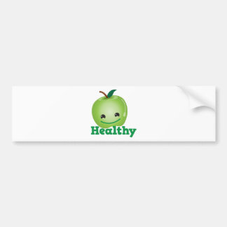 Healthy with green kawaii apple with a cute face car bumper sticker
