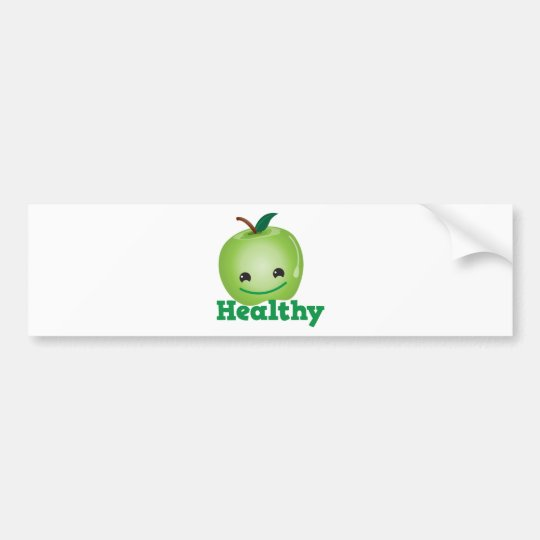 Healthy with green kawaii apple with a cute face bumper sticker