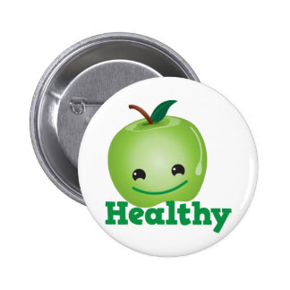 Healthy with green kawaii apple with a cute face 2 inch round button