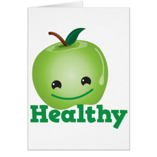 Healthy with green kawaii apple with a cute face card