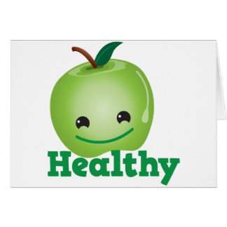 Healthy with green kawaii apple with a cute face greeting cards