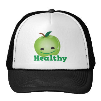 Healthy with green kawaii apple with a cute face hat