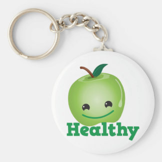 Healthy with green kawaii apple with a cute face basic round button keychain