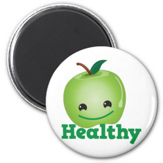 Healthy with green kawaii apple with a cute face 2 inch round magnet