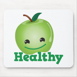 Healthy with green kawaii apple with a cute face mouse pad