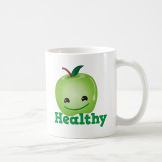 Healthy with green kawaii apple with a cute face coffee mug