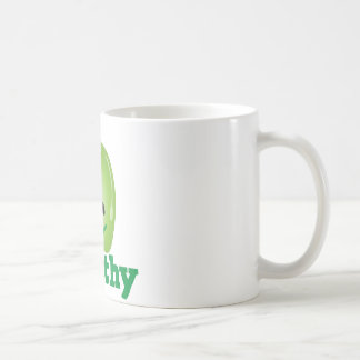 Healthy with green kawaii apple with a cute face classic white coffee mug