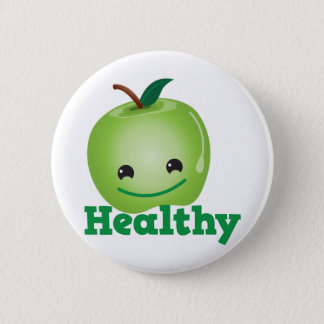 Healthy with green kawaii apple with a cute face pinback button