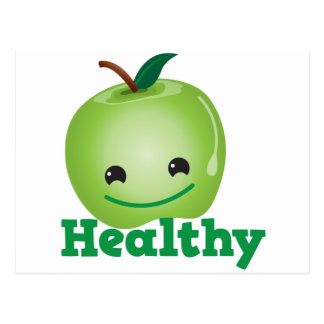 Healthy with green kawaii apple with a cute face post cards