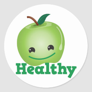 Healthy with green kawaii apple with a cute face classic round sticker