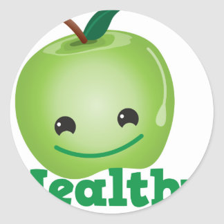 Healthy with green kawaii apple with a cute face sticker