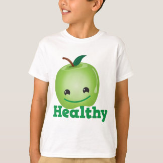 Healthy with green kawaii apple with a cute face T-Shirt