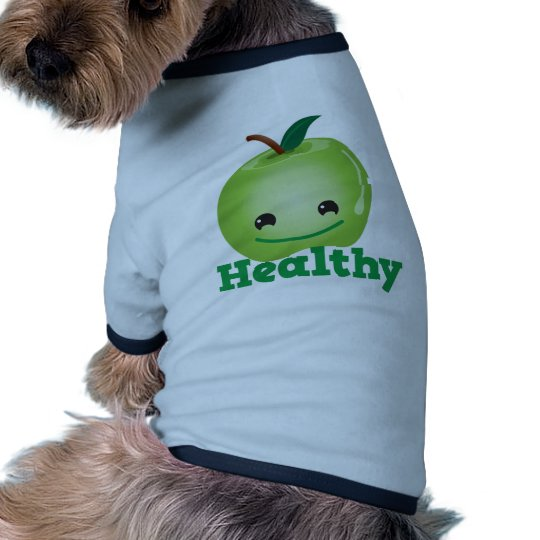 Healthy with green kawaii apple with a cute face tee