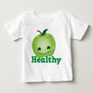 Healthy with green kawaii apple with a cute face shirt