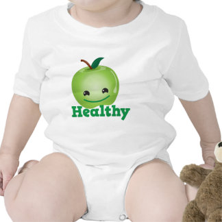 Healthy with green kawaii apple with a cute face bodysuit