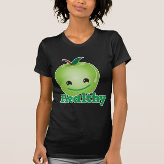 Healthy with green kawaii apple with a cute face shirts