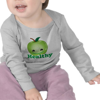 Healthy with green kawaii apple with a cute face tshirts