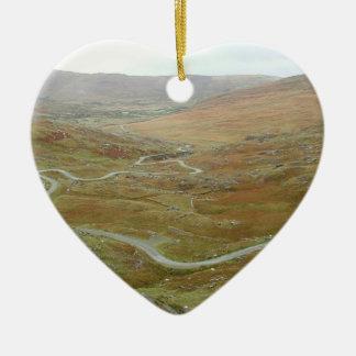 Healy Pass, Beara Peninsula, Ireland. Double-Sided Heart Ceramic Christmas Ornament
