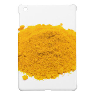 Heap of spice turmeric powder on white background. cover for the iPad mini