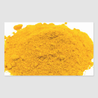 Heap of spice turmeric powder on white background. rectangular sticker