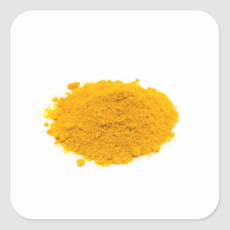 Heap of spice turmeric powder on white background. square sticker