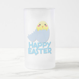 heappy easter super cute chick frosted glass beer mug