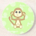 Hear No Evil - Cute Monkey Cartoon Coaster