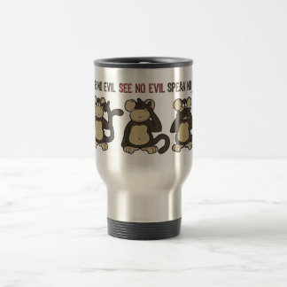 Hear No Evil Monkeys Cartoon Travel Mug