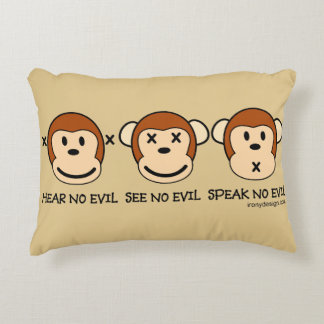Hear No Evil Monkeys Decorative Pillow