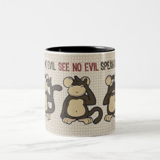 Hear No Evil Monkeys Funny Two-Tone Coffee Mug