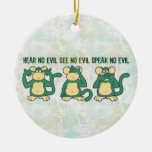 Hear No Evil Monkeys Greens Double-Sided Ceramic Round Christmas Ornament