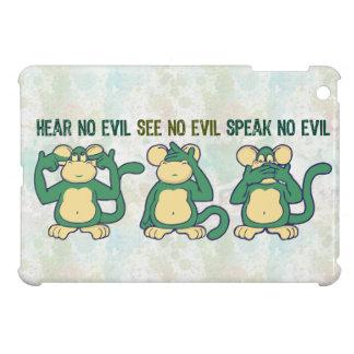 Hear No Evil Monkeys Greens iPad Mini Cover