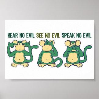 Hear No Evil Monkeys Greens Poster