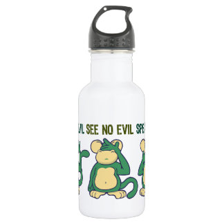 Hear No Evil Monkeys Greens Stainless Steel Water Bottle