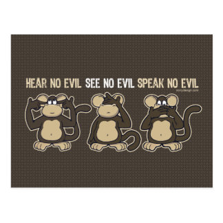 Hear No Evil Monkeys Humor Postcard