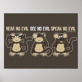 Hear No Evil Monkeys Humor Poster