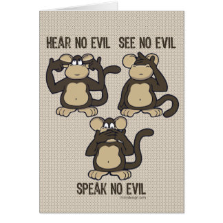 Hear No Evil Monkeys - New Card