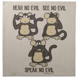 Hear No Evil Monkeys - New Cloth Napkin