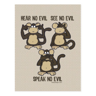 Hear No Evil Monkeys - New Postcard