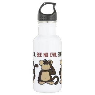 Hear No Evil Monkeys - New Stainless Steel Water Bottle