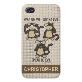 Hear No Evil Monkeys - Personalize Monogram iPhone 4 Covers