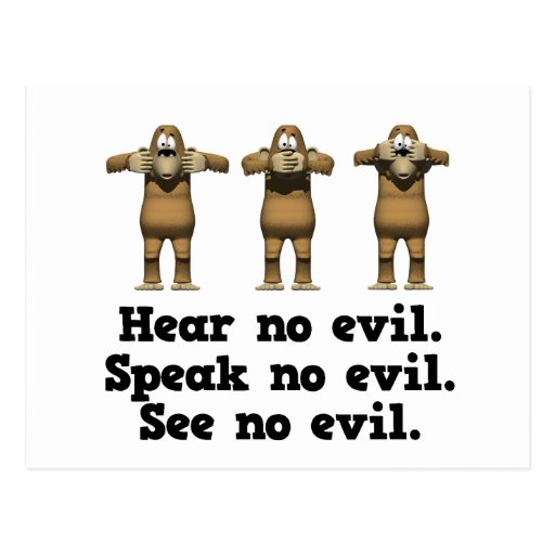 Hear No Evil Monkeys Postcard
