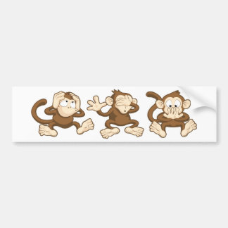 hear no evil, see no evil, speak no evil monkeys bumper sticker