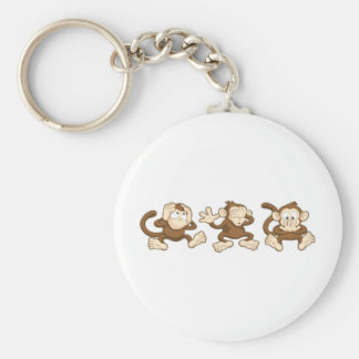 hear no evil, see no evil, speak no evil monkeys keychain
