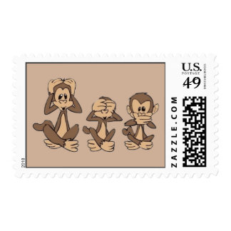 Hear No Evil, See No Evil, Speak No Evil Monkeys Postage